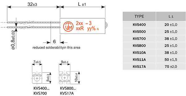 KVS vertical throughole wirewound power resistor dimensions